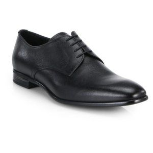 PRADA Mens Saffiano Black Leather Dress Shoes 8.5